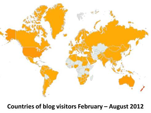 Blog visitors - countries of, Feb-Aug 2012
