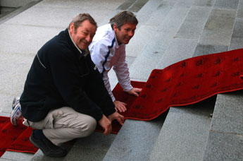 Red carpet being laid at Parliament