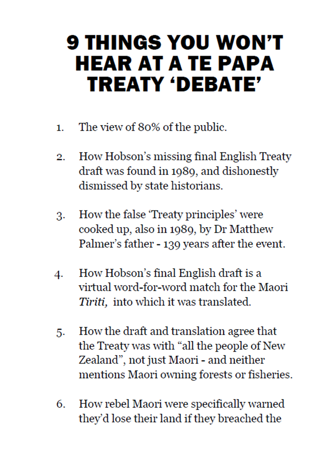 Te Papa Treaty Debate 24 Jan 2013 - handout front